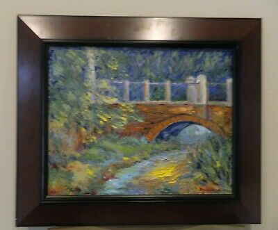 "Impressionism Oil Fine Art. The old bridge. Origl. Ducuron artist 16""x20"".Canvas"