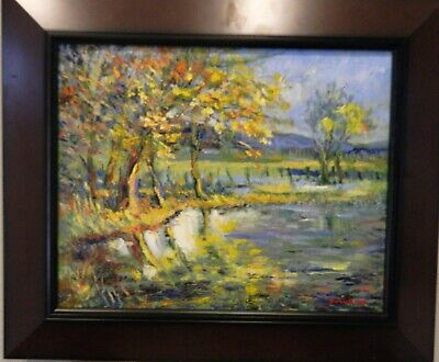 "Impressionism Oil Fine Art. Reflections. Original. Ducuron artist 16x20"".Canvas"