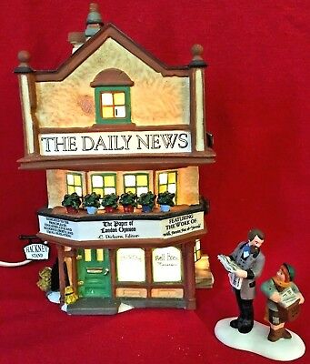 The Daily News Dept 56 Dickens Village 58513 Christmas building newspaper snow A