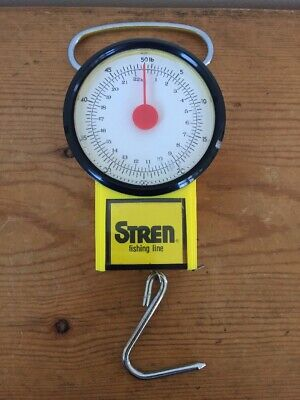 Vtg Stren Fishing Line 50lb Hanging Hook Fishing Weight Scale w/ Tape Measure