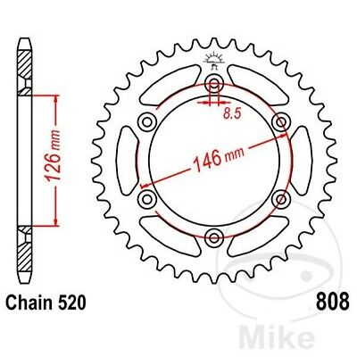 JT Rear Sprocket 53T 520P JTR808.53 Steel Suzuki RM 125 1990