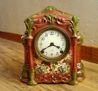 Antique Working Ansonia Amara Porcelain Mantle Clock, Fancy Hand Painted Dial