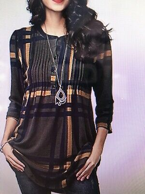 6cbe74d02d3 NWT ZULILY REBORN Tunic henley style in Navy plaid S -  19.00