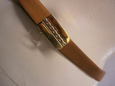 steerhide cowhide prince gardner skinny camel leather belt 70s chain buckle vntg