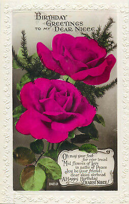HEARTY BIRTHDAY WISHES Roses Flowers 1925