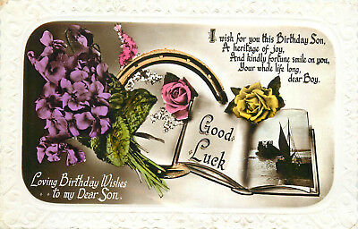 Floral Embossed Frame Greetings Postcard Son Birthday Good Luck Book Horseshoe