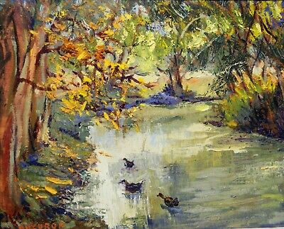 "Impressionism Oil Fine Art. Ducks Pond. Original. Ducuron artist 8""x10""."