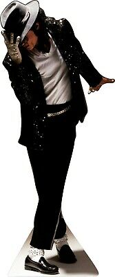 "MICHAEL JACKSON-sequin glove/fedora Life Size 71"" Tall CARDBOARD CUTOUT Standee"
