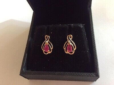 9ct gold ruby and diamond earrings NEW boxed