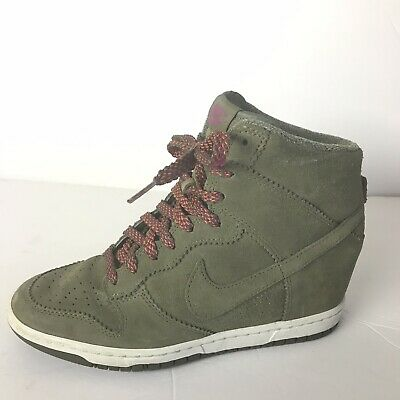 e05f1cc8e83 nike dunk sky hi wedge sneakers 8.5 Women Green Suede Sneakers High Tops