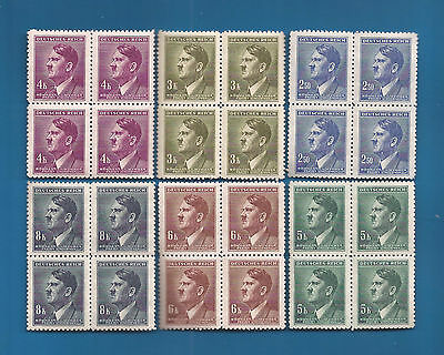 NAZI GERMANY  POST 3rd Third Reich WW2 Hitler head stamp blocks  MNH