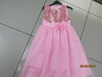 Girls pretty pink Prom Dress with lace, net and glitter! BNWT.