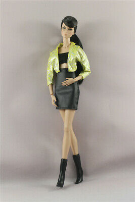 4in1 Fashion Green Jacket Top+Skirt +Boot  FOR 11.5in.Doll Clothes Outfit