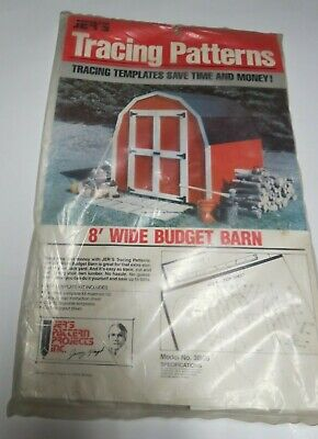 Vintage Jer's 8' Wide Budget Barn Tracing Patterns Templates Woodworking Project