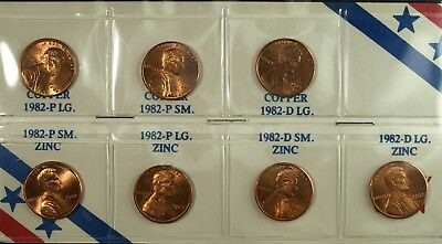 1982 P& D  7 Coin Lincoln Cent Set Large/Small Dates w/ Copper/Zinc ☆☆☆ Nice Red