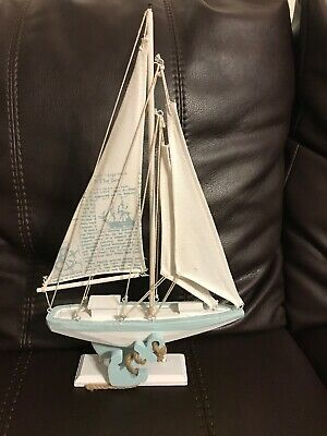 Wooden Nautical Sailboat Decoration Sailing Ship Tabletop Decor Coastal Home