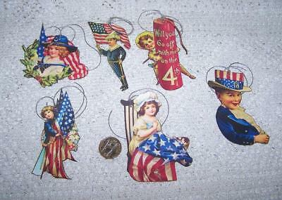 Vintage~4th of July~Patriotic~Glitter~PrecisionCut~LinenCardstock~Gift~Hang~Tags
