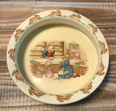 Vintage Royal Doulton Bunnykins Piggly's Store Childs Bowl England 1936