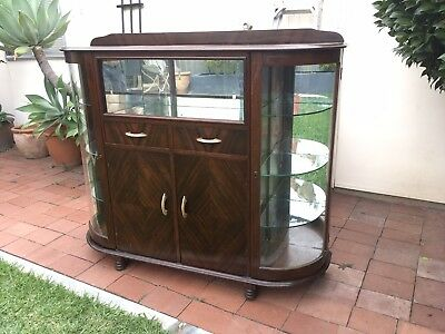 furniture antique vintage Solid Dark Wood Cabinet