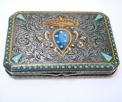 Antique Austria .800 Silver w/ Turquoise, Enamel, Gold Trinket Box Card Case