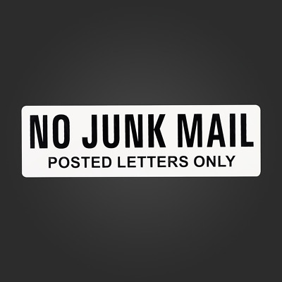 No Junk Mail Sign Home Letterbox Mailbox Sign Stick On Screw On