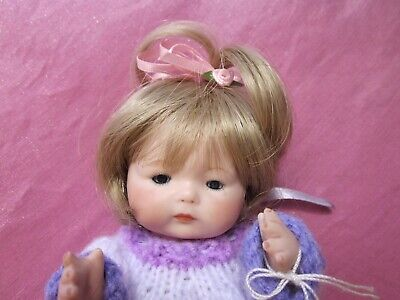 """Tynie Baby""Porcelain Reproduction Doll,Handmade By Artist,Wearing Knitted Dress"