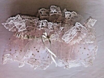 Bridal Garter.  Soft Pink Hailspot Tulle with White Lace and Ribbon Trim.