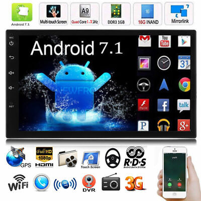 """7"""" Android 7.1 Car Radio Stereo MP5 Quad Core 3G WIFI Double 2DIN Player GPS FM"""