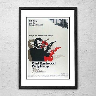 FRAMED Dirty Harry 'Clint Eastwood' Movie Poster (1972)