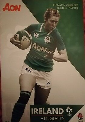 Ireland v England February 2019 women's Six Nations rugby match programme Dublin