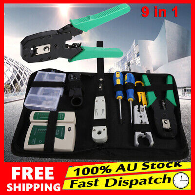 New Lan Network Cable Tester Crimper Punch Down Tool Stripper Kit RJ45 CAT5 CAT6
