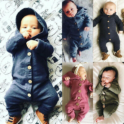New Newborn Baby Infant Boy Girl Romper Hooded Jumpsuit Bodysuit Outfits Clothes