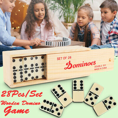 28pcs/Box Double Six Professional Dominoes Tiles w/ Brass Spinner Game Kids Toy