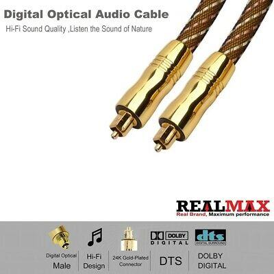 3M Toslink Digital Optical Audio Cable with Gold Plated Metal Connectors Lead UK