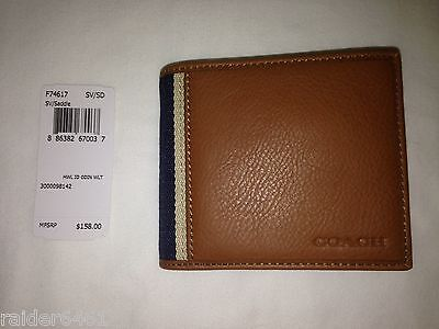 9c68353e0fd8 NWT Coach F74617 Heritage Web Leather ID Coin Billfold Men s Wallet  158