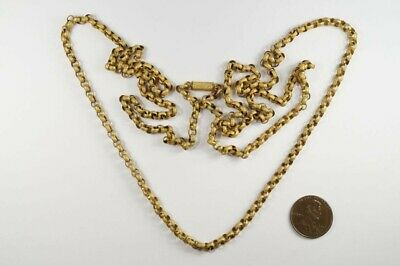 "ANTIQUE GEORGIAN ENGLISH PINCHBECK 37"" LONG GUARD / MUFF CHAIN NECKLACE c1820"