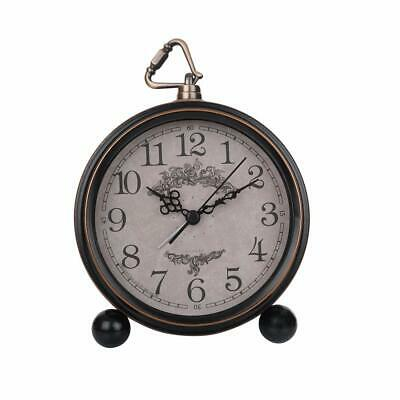 Table Clock Vintage Analog Silent Metal Retro Alarm Clock Home & Office Decor 7""