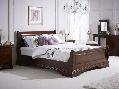 French Solid Hardwood 5ft King Size Mahogany Stained Sleigh Bed - HW05