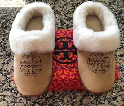 d76d99ef26e TORY BURCH COLEY Slippers Split Suede Perforated Elephant Gray Size ...