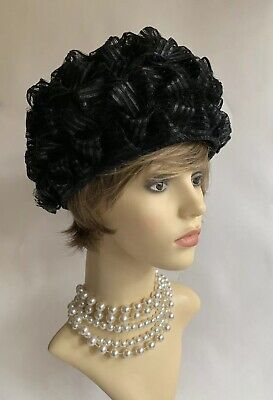 """Vintage 1960s Black Turban Style Pleated Stiff Polyester Hat 21"""" Fully Lined"""