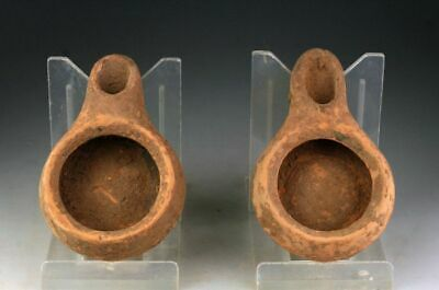 *SC*NICE PAIR OF GREEK HELLENISTIC POTTERY OIL LAMPS, 4th-3rd. cent. BC!