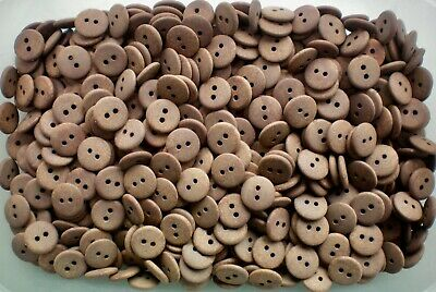 W143C 15mm 24L Light Brown Wooden Wood Effect Natural Craft 2 Hole Buttons
