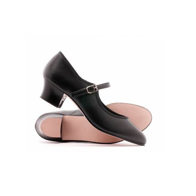 Black leather Katz buckle cuban heel character / tap dance shoes - all sizes