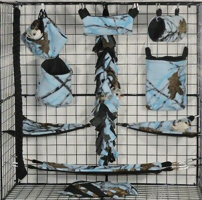 True Timber Blue * 15 PC Sugar Glider Cage set * Rat * double layer Fleece