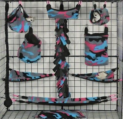 Pink Blue Black Camo* 15 PC Sugar Glider Cage set * Rat * double layer Fleece