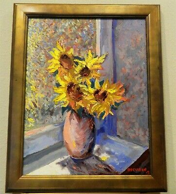 "Impressionism Oil Fine Art. Sunflowers. Original. Ducuron artist 16""x20"". Canvas"
