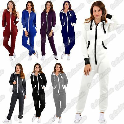 New Ladies Hooded Plain Fleece Zip Up Jumpsuit All In One Playsuit Overall