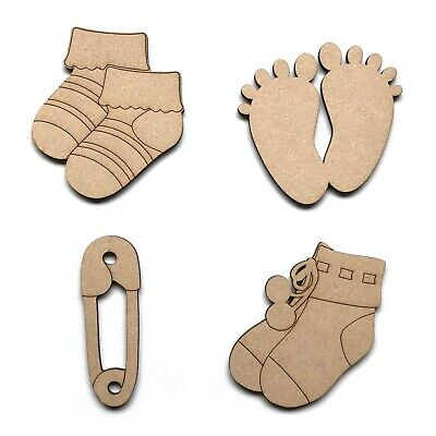Wooden MDF Baby Feet Socks Nappy Pin Shapes Embellishments Decoration Birth
