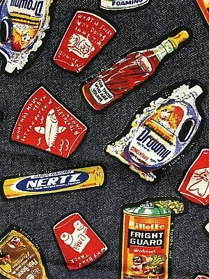 Rare Vintage Topps Wacky Packages 2 Yards Fabric Denim Color Satirical Products