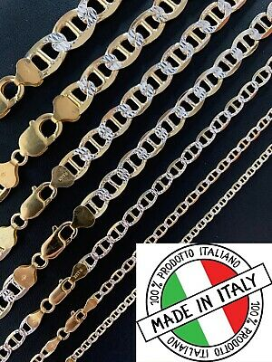 925 Sterling Silver & 14k Gold Two Tone Diamond Cut Mariner Chain Or Bracelet